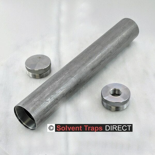 D-Cell Carbon Steel Solvent Trap Kit 10 inch End Cap & thread protector Unfinished Carbon steel ST_D-Cell_10in_Kit_CS_EC_TP_5-8x24_UF
