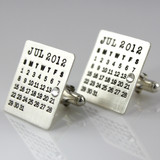 Mark Your Calendar Cuff Links with Crystal Date Highlight