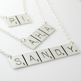 Scrabble Inspired Hand Stamped and Personalized Word Necklace