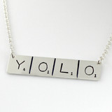 YOLO Scrabble Inspired Hand Stamped Sterling Necklace - You Only Live Once