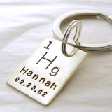 Personalized Periodic Table / Atomic Element Hand Stamped Sterling Silver Key Chain