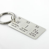 Word Periodic Table / Atomic Element Hand Stamped Sterling Key Chain