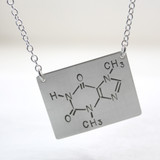 Chocolate / Theobromine Molecule Hand Stamped Sterling Silver Necklace