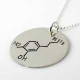 Dopamine Molecule Hand Stamped Sterling Silver Necklace