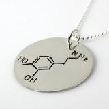 Dopamine Molecule Hand Stamped Sterling Silver Necklace