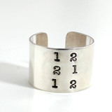 Sterling Cuff Ring personalized with date