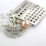Mark Your Calendar Necklace with Our Wedding Day Flower Charm