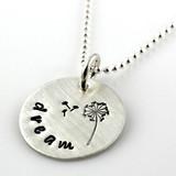 Dandelion Dream Hand Stamped Sterling Necklace