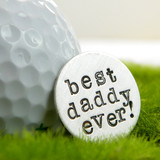 Best Daddy Ever Handstamped Sterling Golf Marker