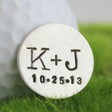 You + Me Handstamped Sterling Golf Marker with Date