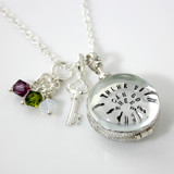 Simply Charming Glass Locket Personalized Necklace with Key
