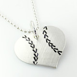 I Love Baseball – Baseball Heart Necklace