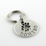 Pet Tag with Paw Print Charm
