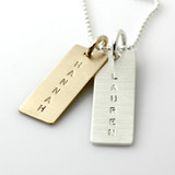 Mixed Metal Name Tag Necklace - Varied Length, Long Silver