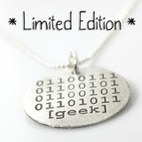 Geek Binary Code Etched Necklace [Limited Edition]