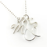 You & Me Initial Charm Necklace with handmade ampersand