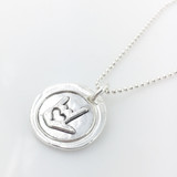 ASL I Love You Symbol Wax Seal Inspired Necklace