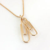 Paperclip Necklace / Two Linked Paperclips / Gold-Filled