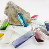 Gemstone Necklace with Sterling Silver Bezel