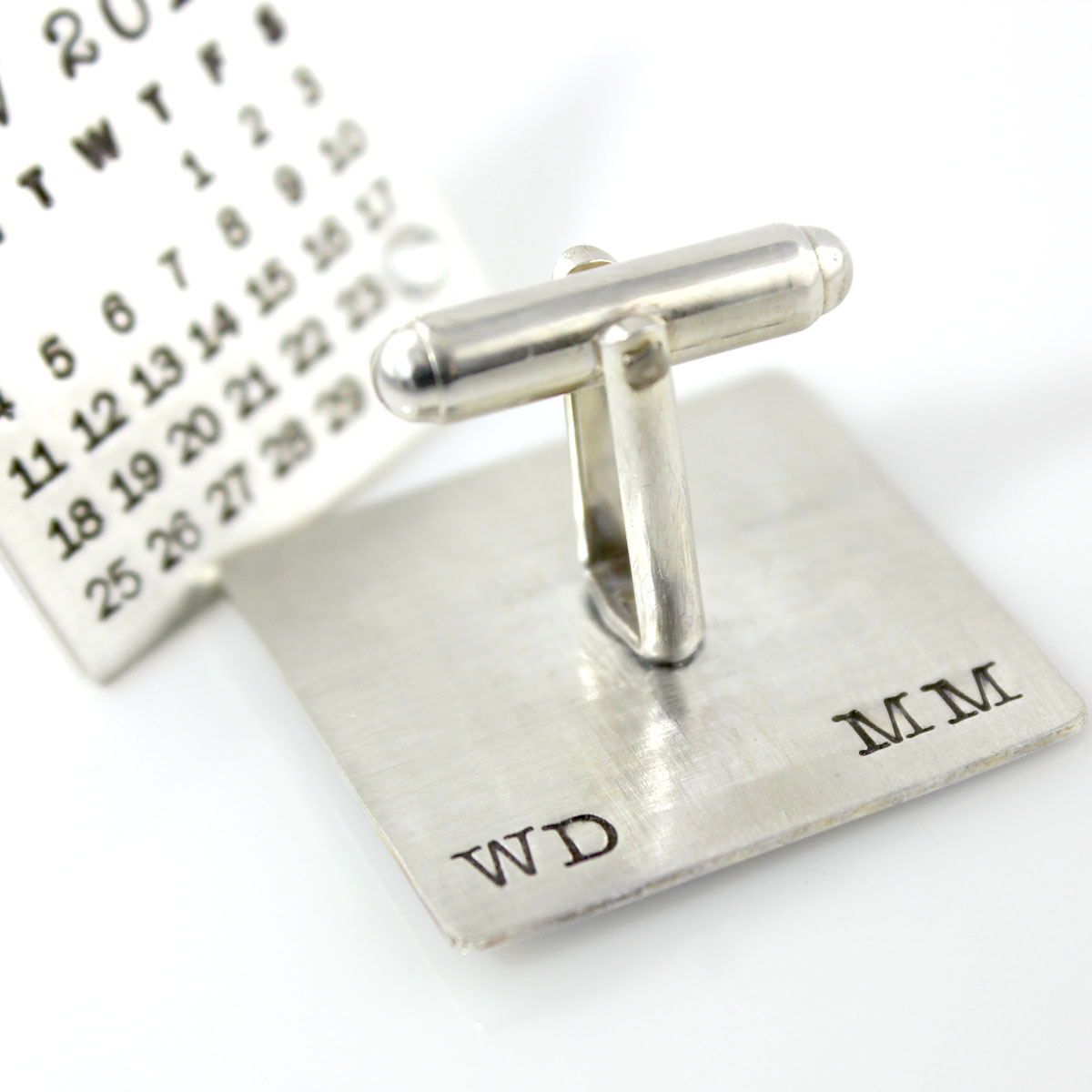 Mark Your Calendar Cuff Links with stamping on back
