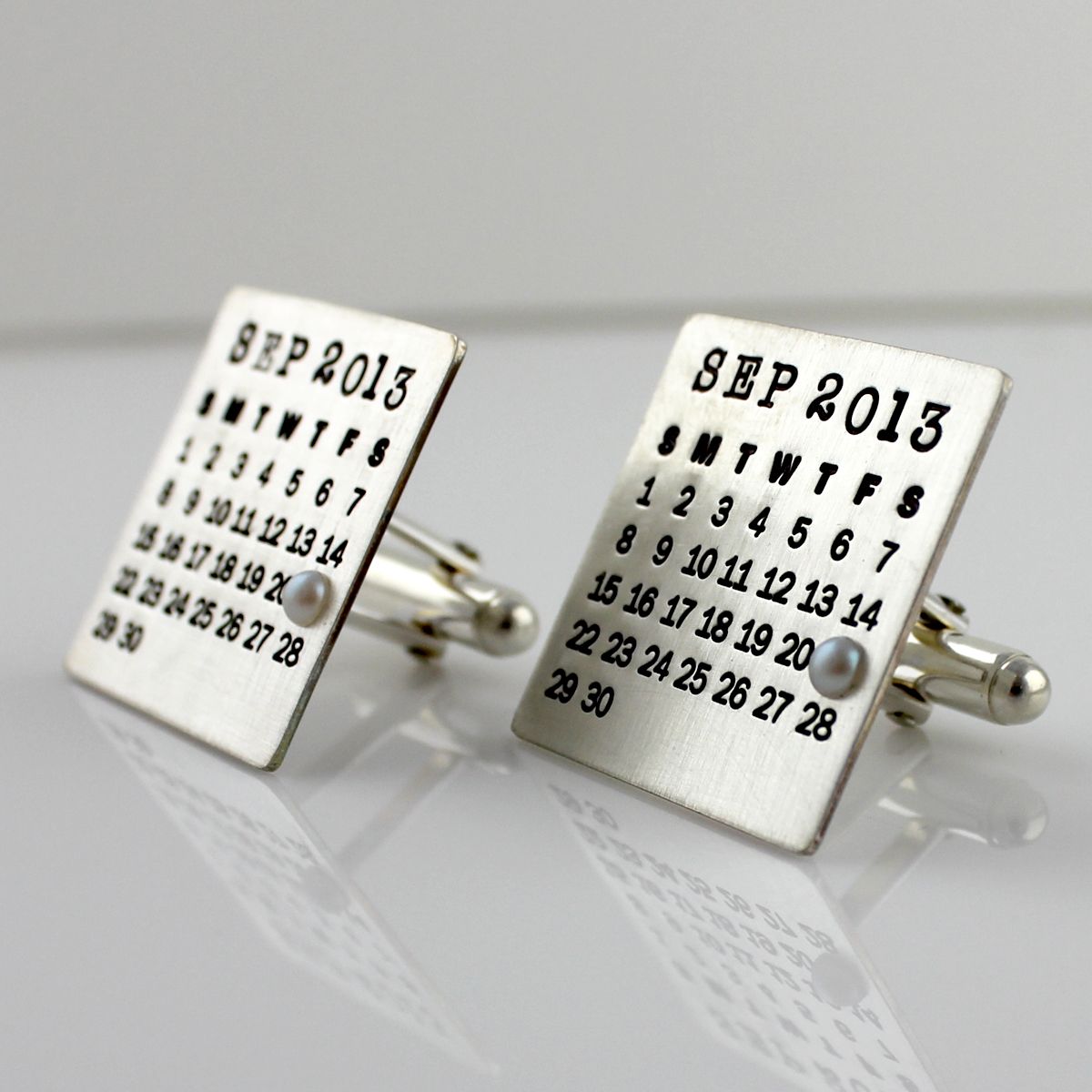 Mark Your Calendar Sterling Silver Cuff Links
