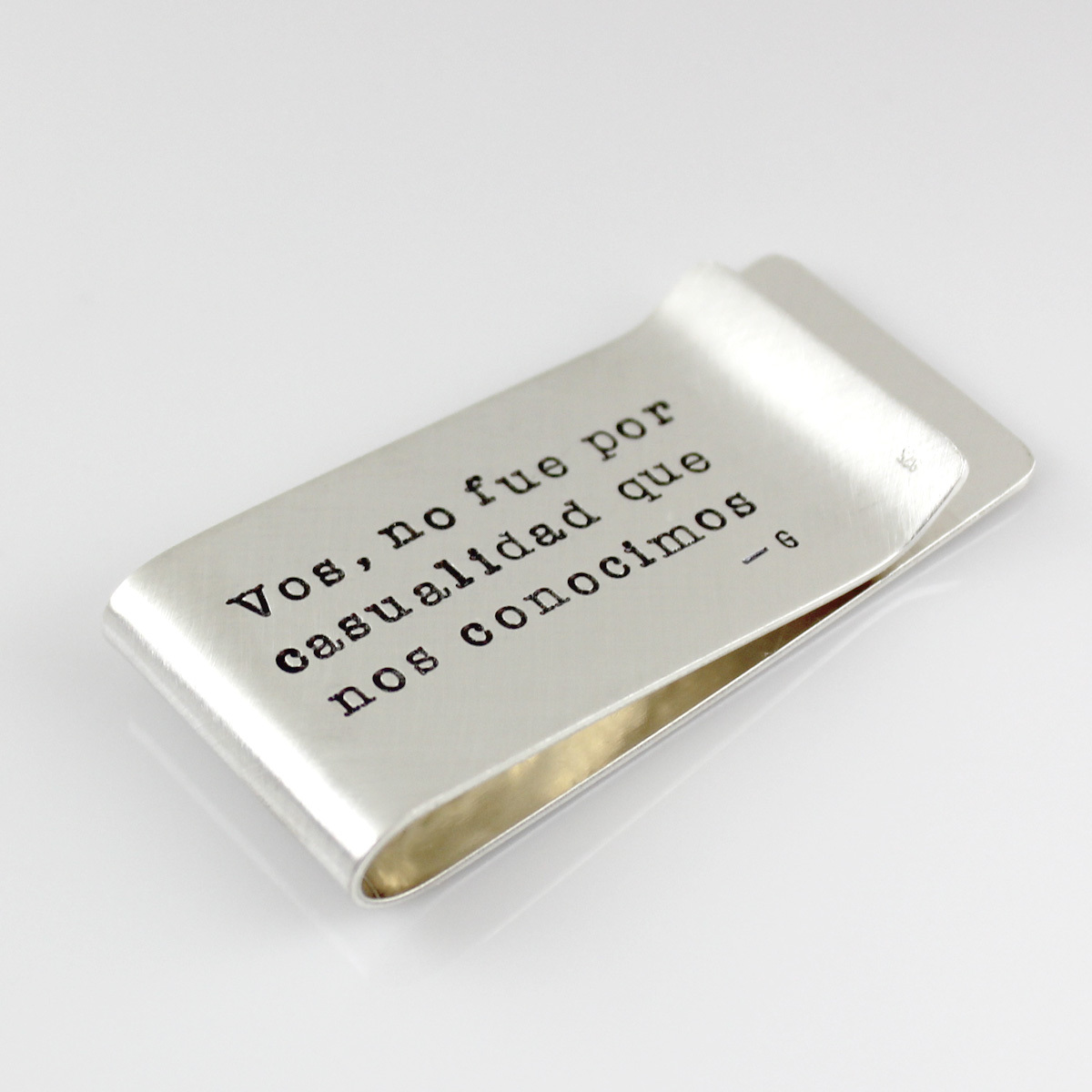 Mark Your Calendar Money Clip with horizontal stamping on back