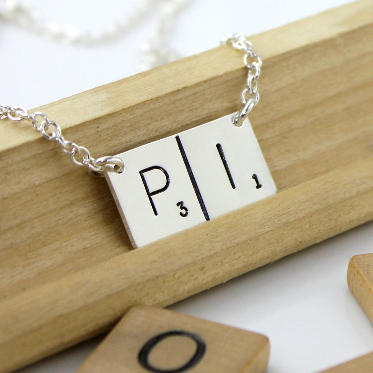 Scrabble Inspired Hand Stamped and Personalized Pi Necklace
