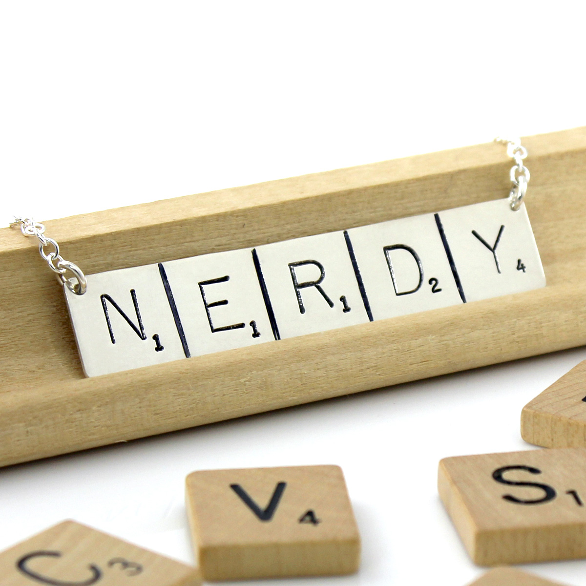 Scrabble Inspired Hand Stamped and Personalized Nerdy Necklace