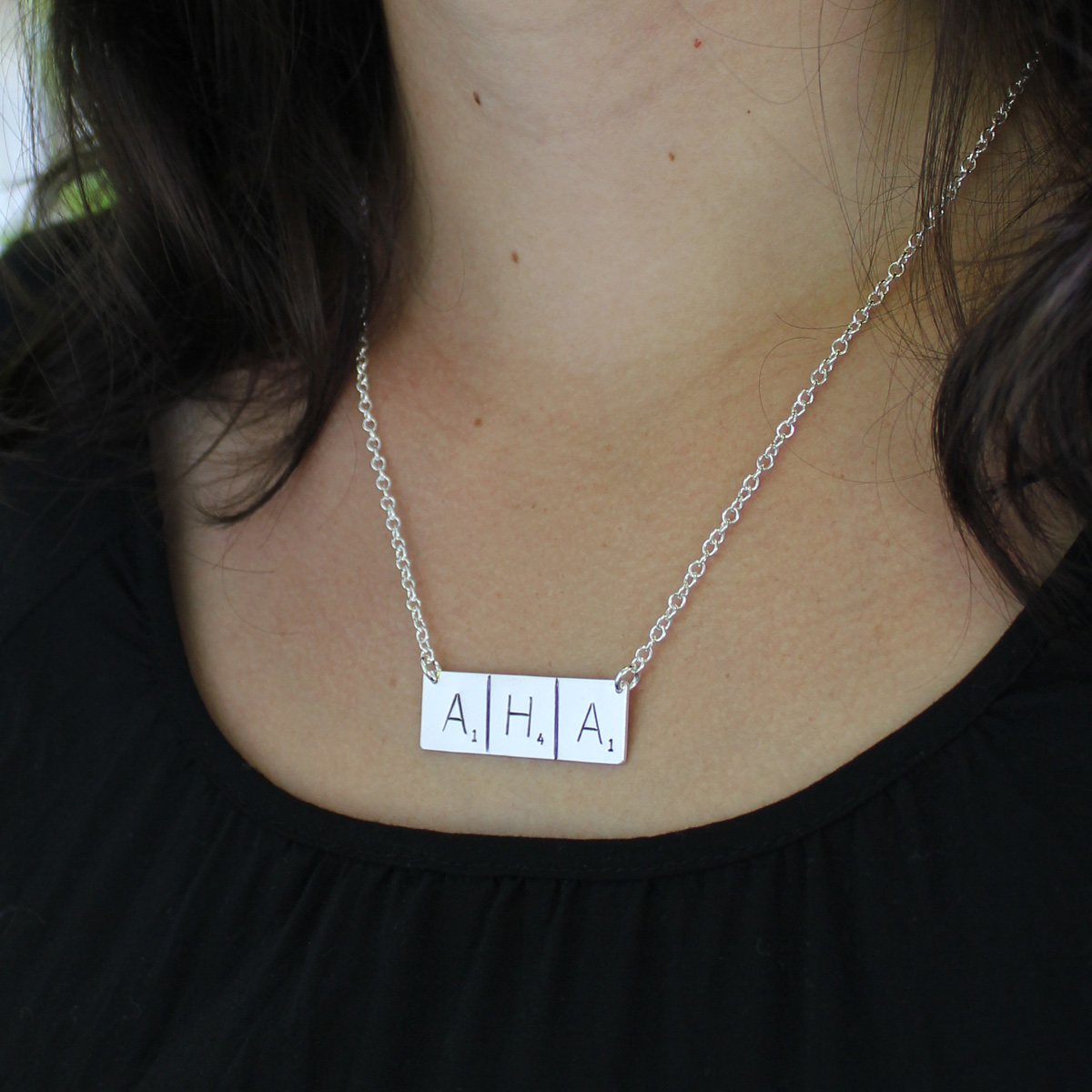 Scrabble Inspired Hand Stamped and Personalized Word Necklace On