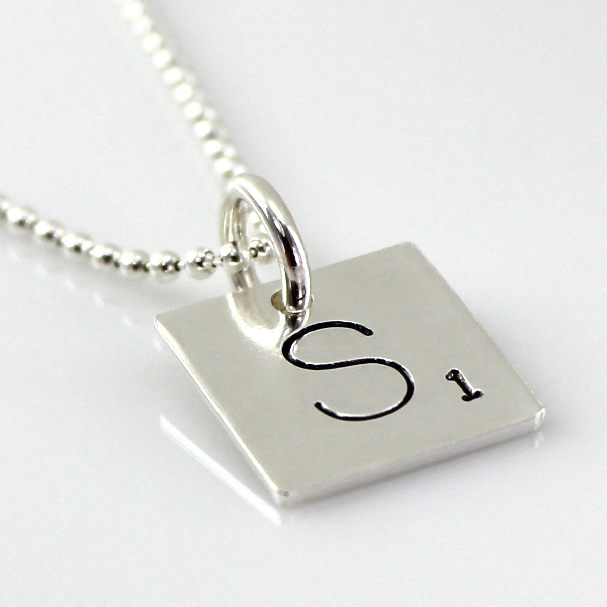 Scrabble Tile Inspired Hand Stamped and Personalized Necklace
