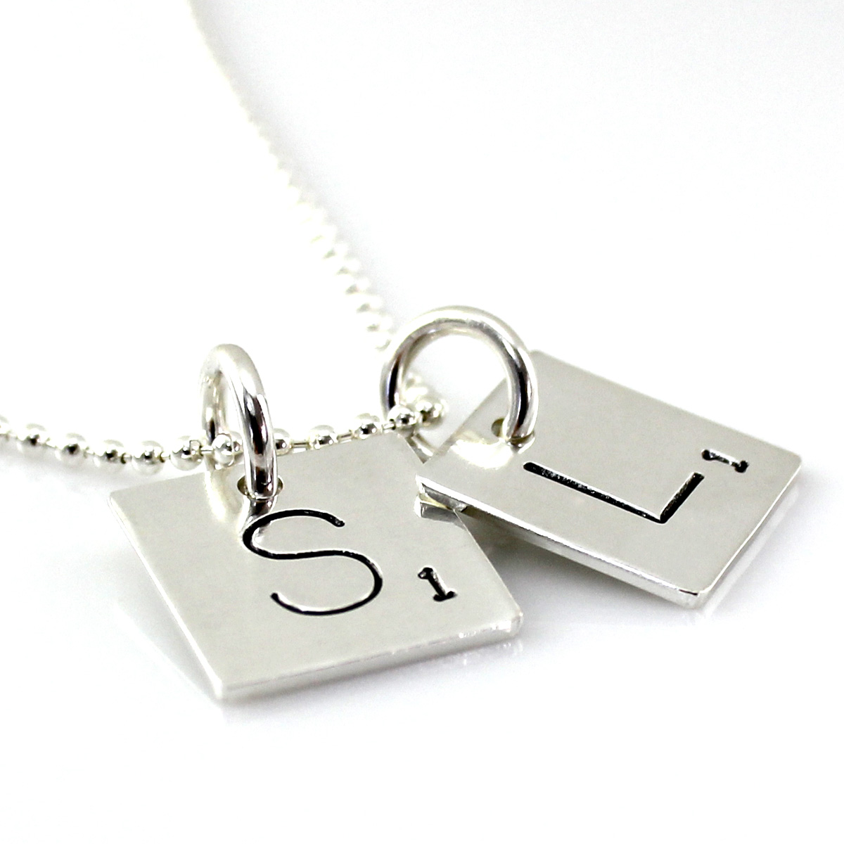 Scrabble Tile Inspired Hand Stamped and Personalized Necklace - two initials