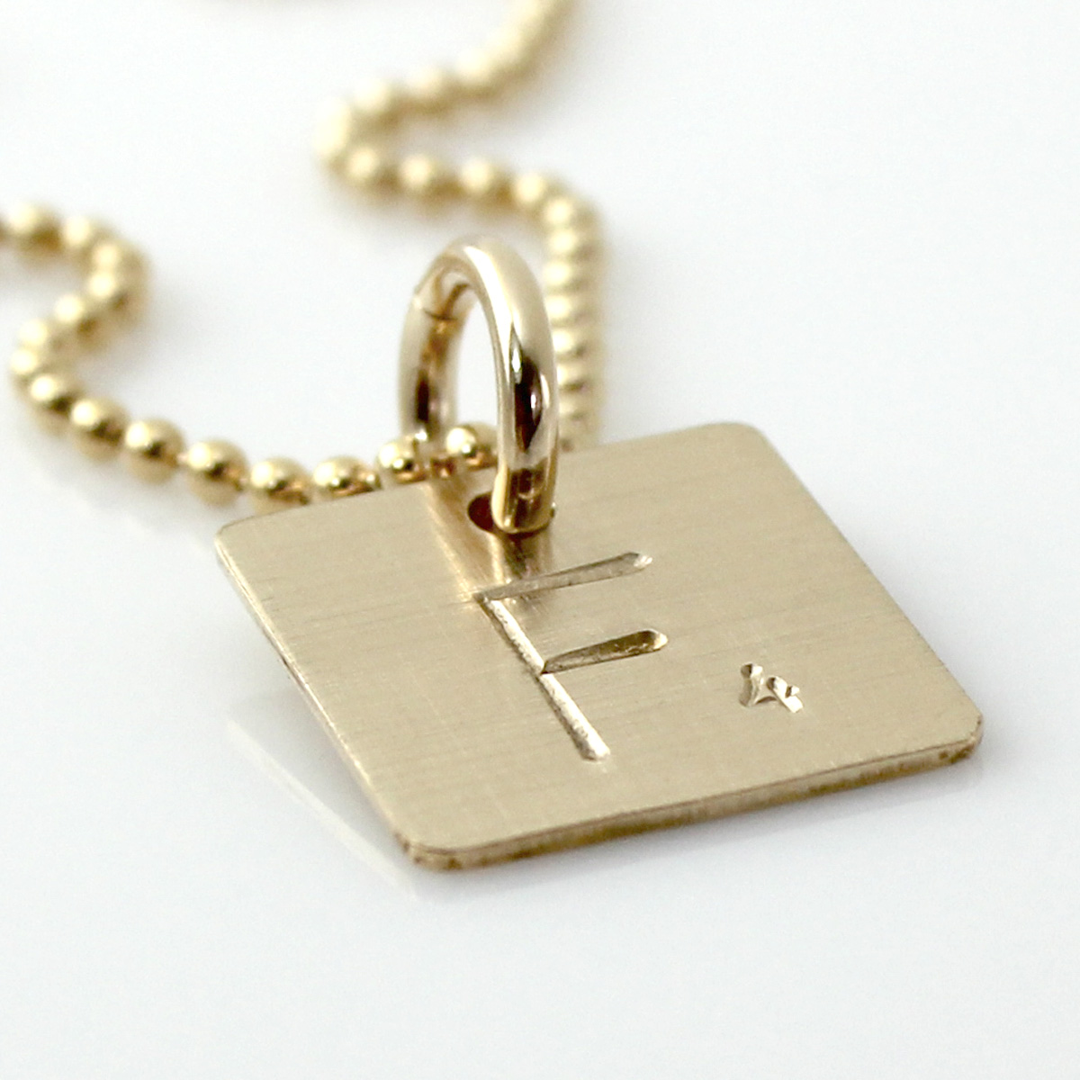 Scrabble Tile Inspired Hand Stamped Necklace in Gold Filled