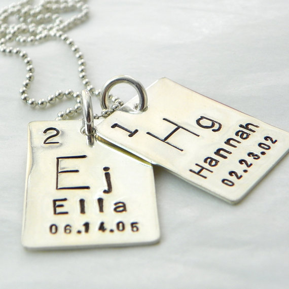 Atomic Element Hand Stamped Sterling Silver Necklace two tags