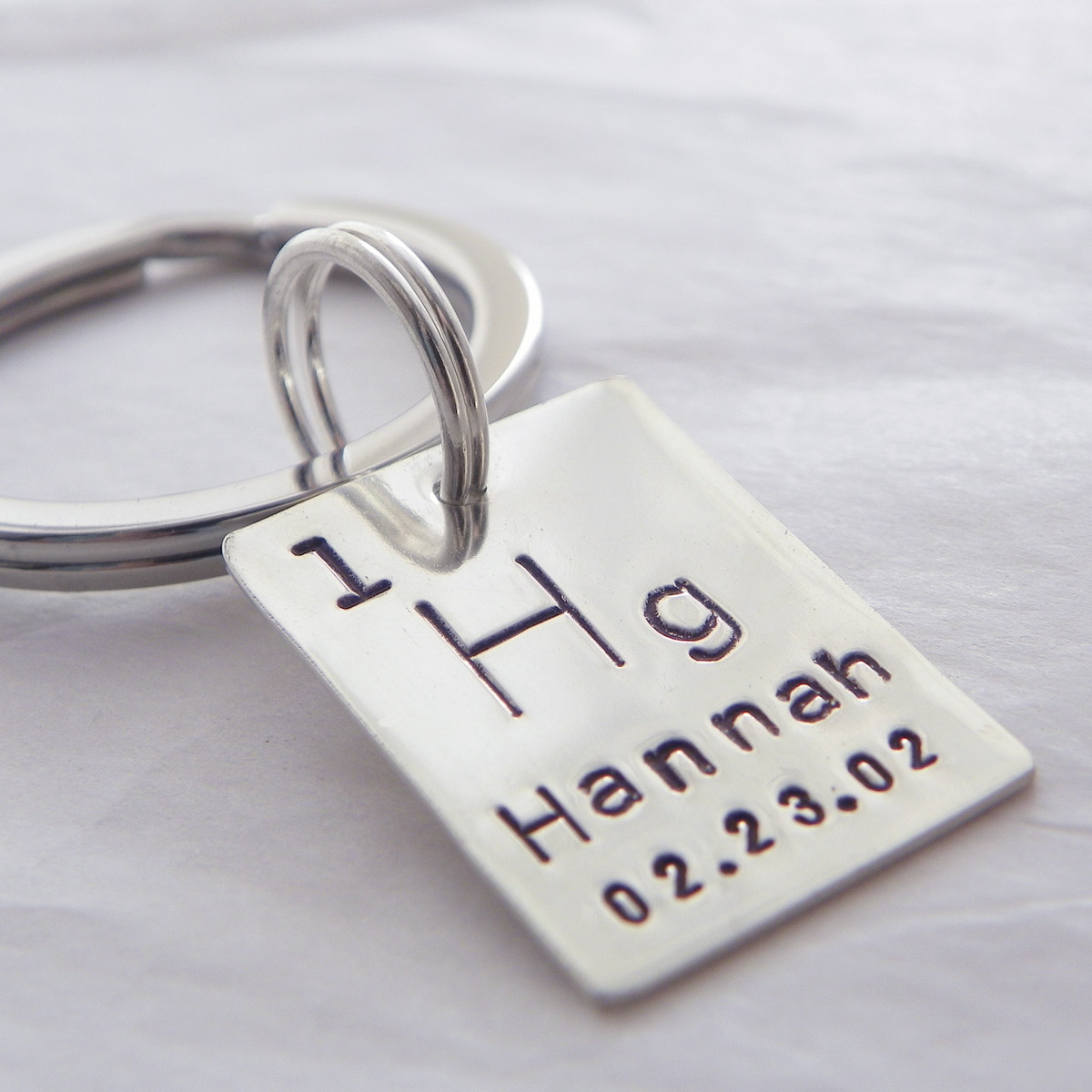 Periodic Table / Atomic Element Hand Stamped Sterling Silver Key Chain