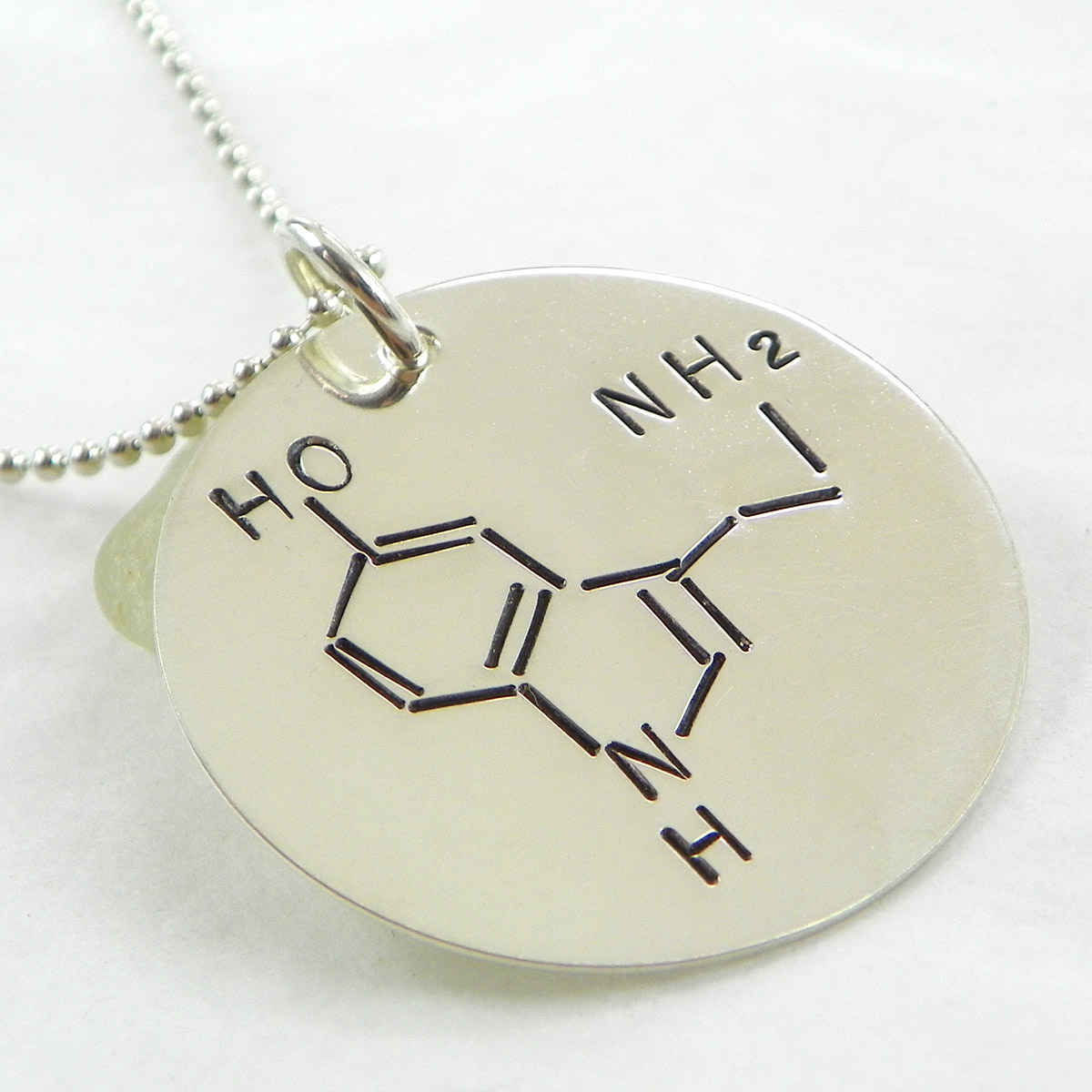 Serotonin Molecule Hand Stamped Sterling Silver Necklace
