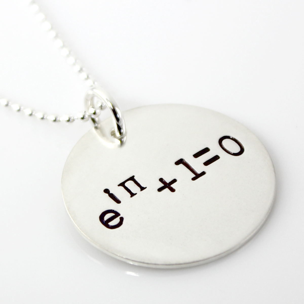 Euler's Identity Hand Stamped Sterling Silver Necklace