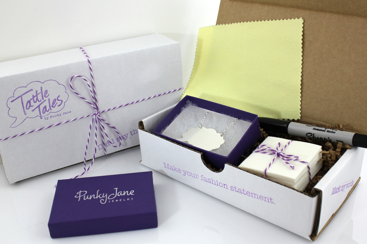 Tattle Tales Write On/Wipe Off Thought Bubble Necklace Packaging