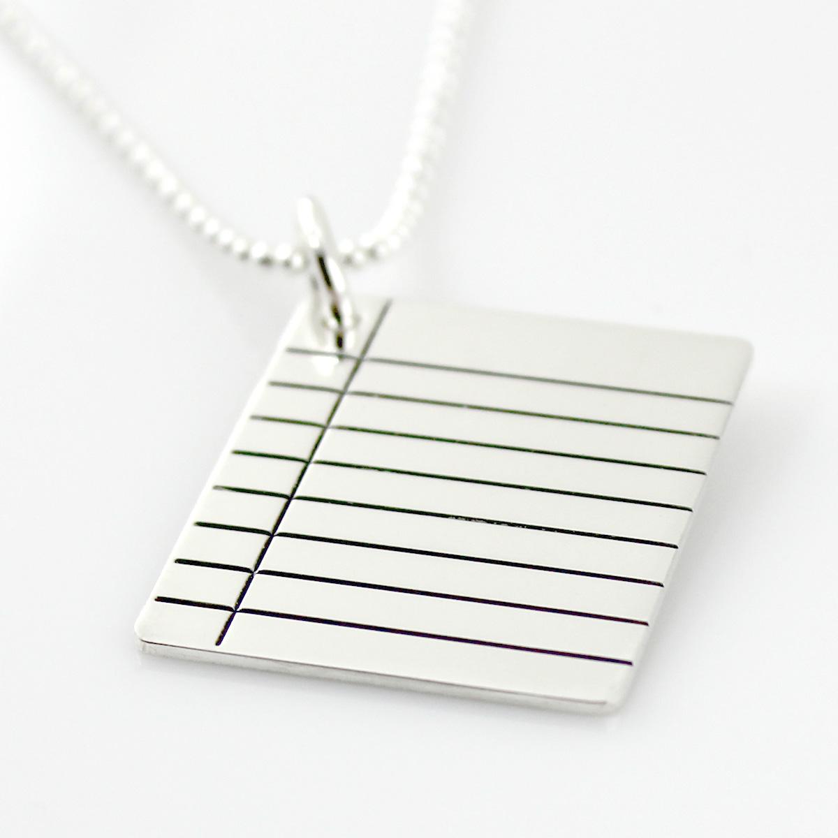 Binder Paper Sterling Silver Necklace