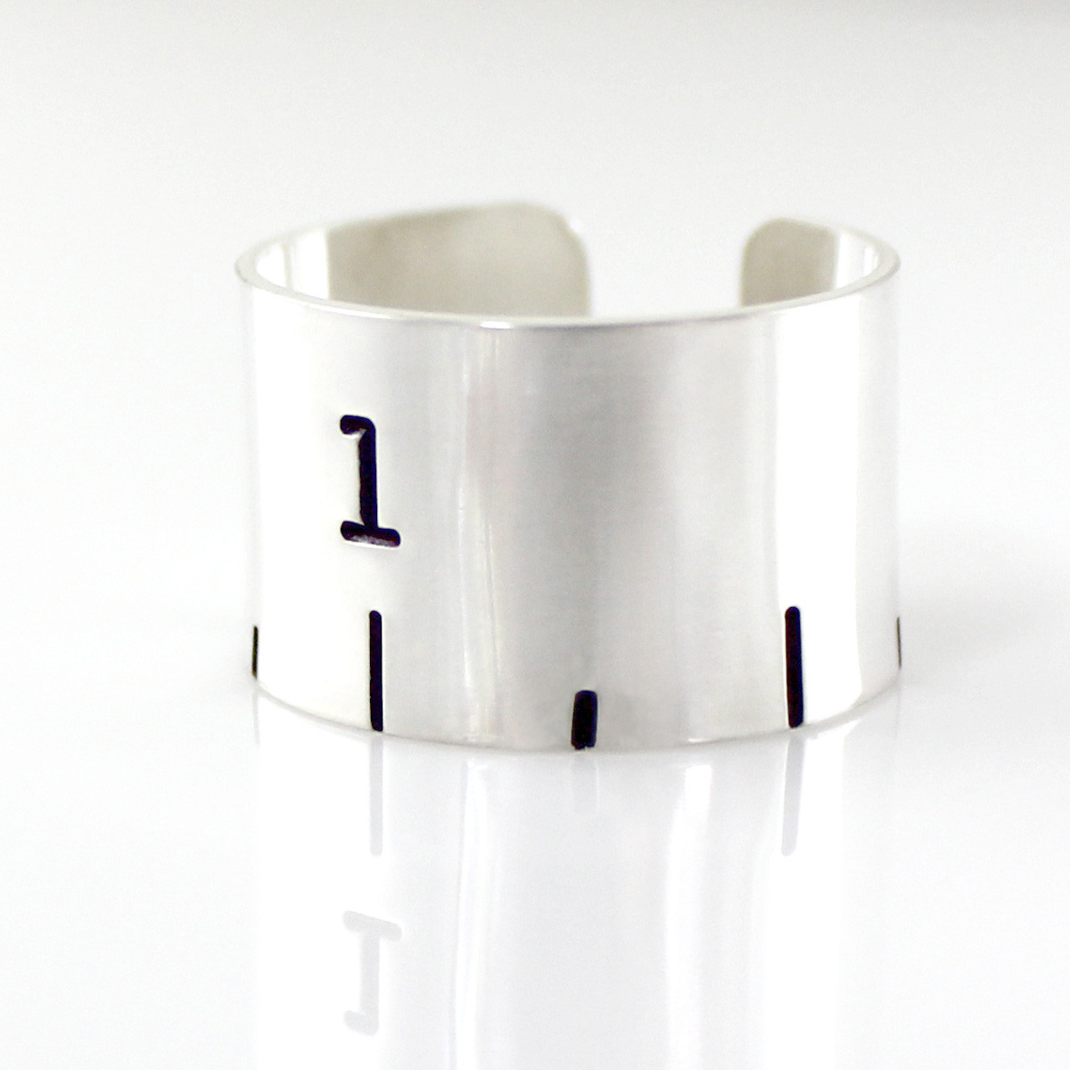 Ruler Cuff Ring - Hand Stamped Sterling Silver