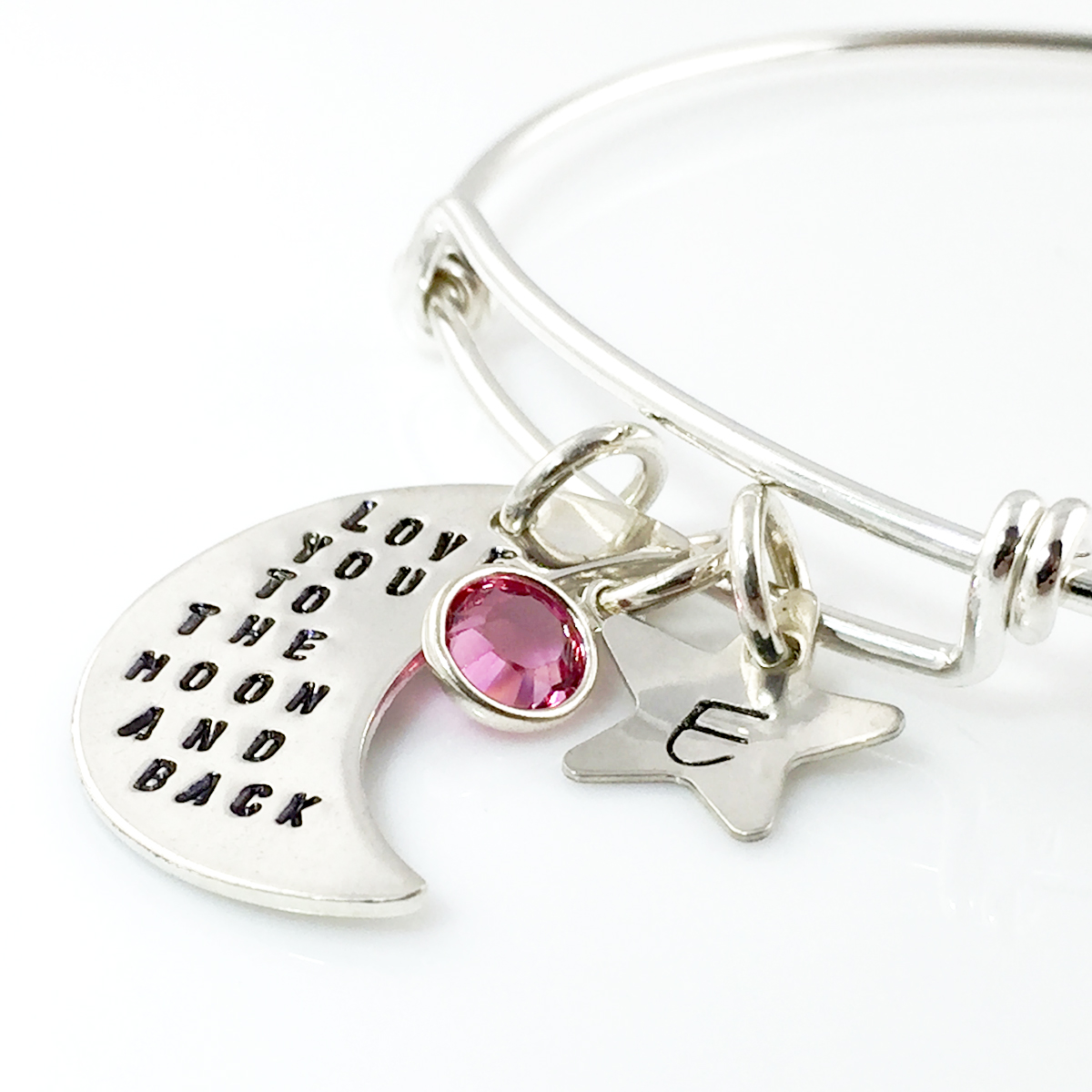 Love You to the Moon and Back Simply Charming Bangle Bracelet