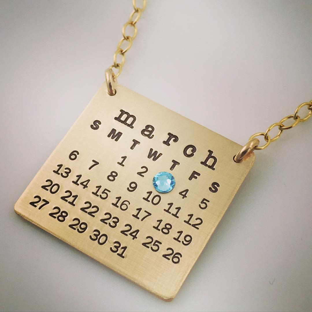 Mark Your Calendar Necklace Top Hang - Gold Filled, no year