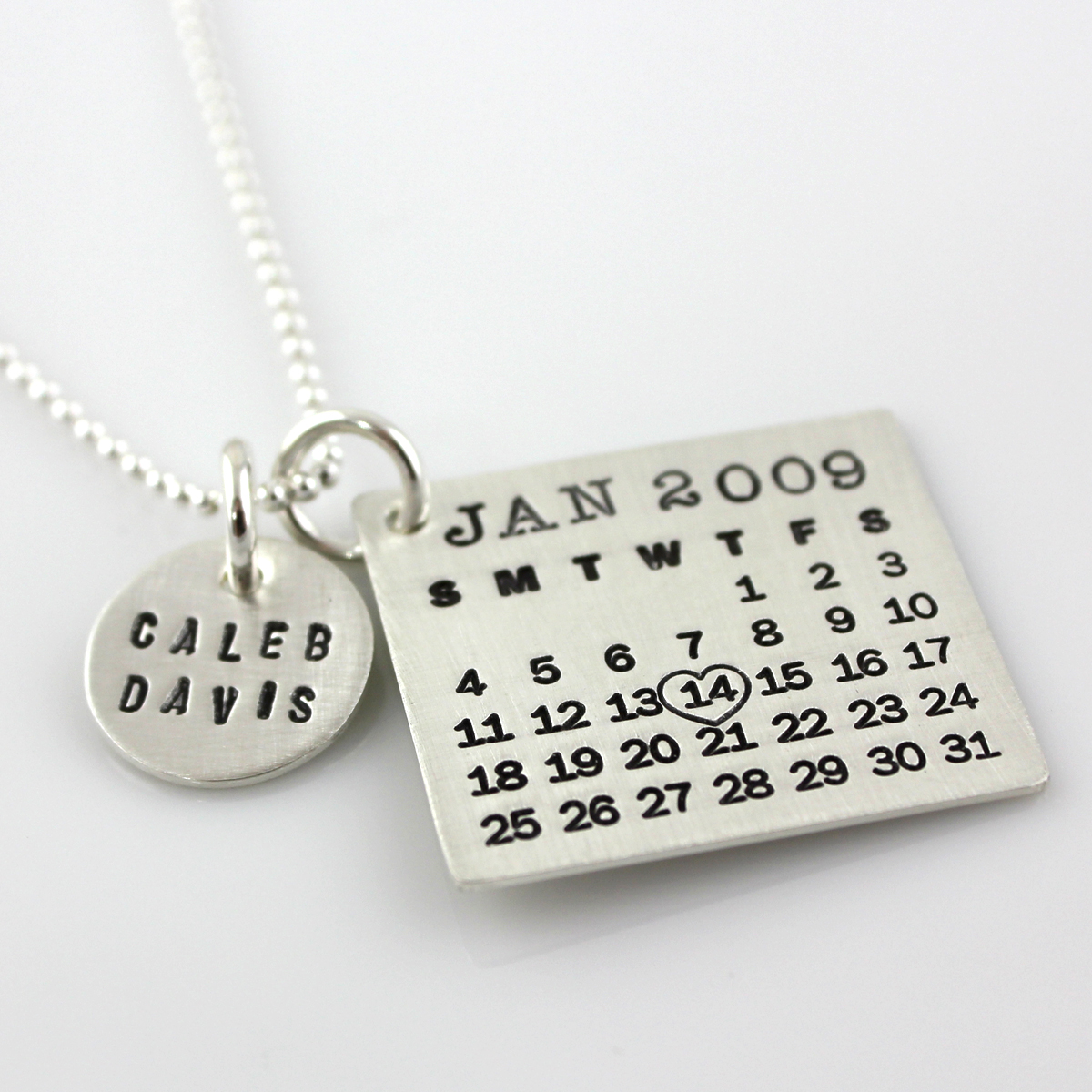 Mark Your Calendar Necklace with Name Charm