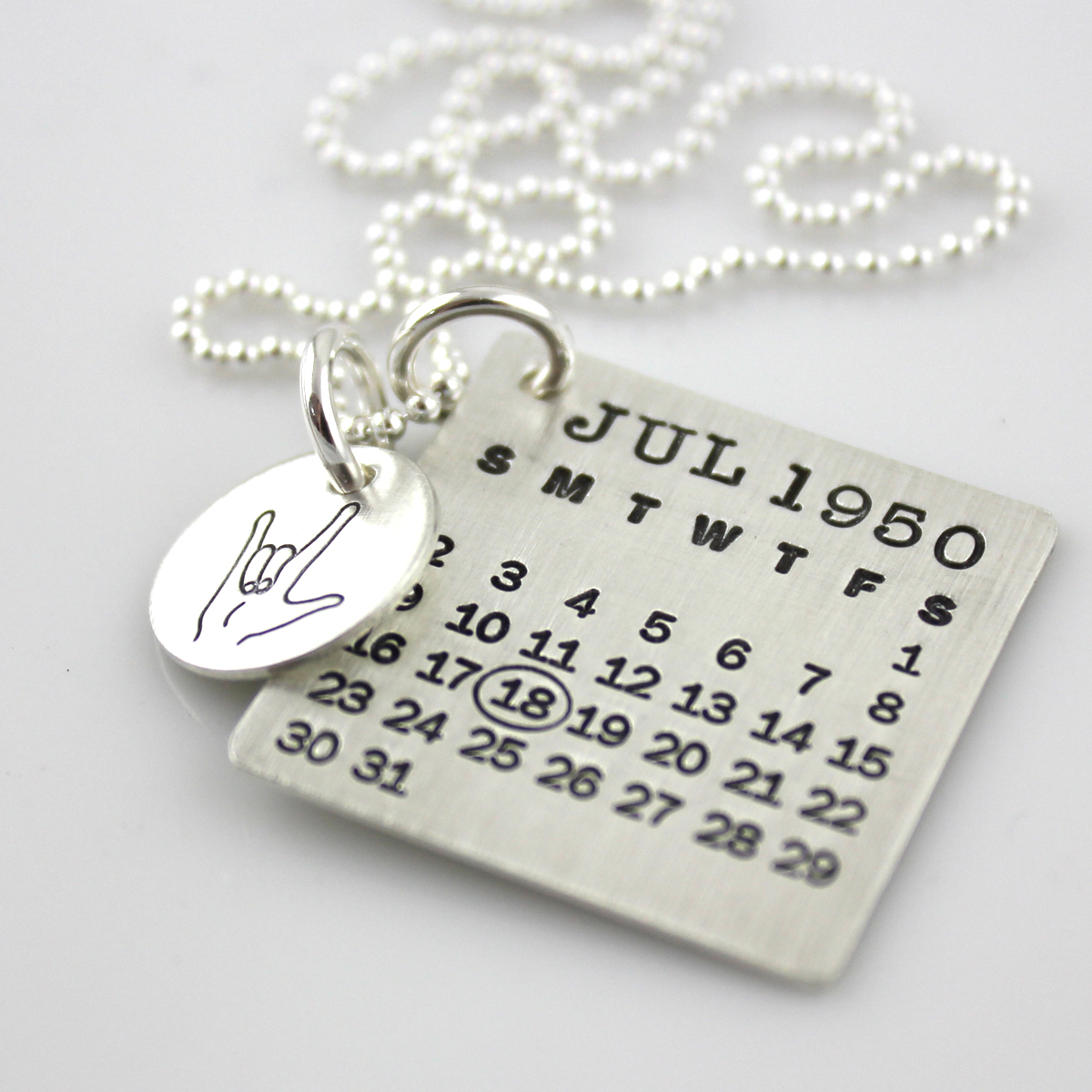 Mark Your Calendar Necklace with ASL I Love You Charm
