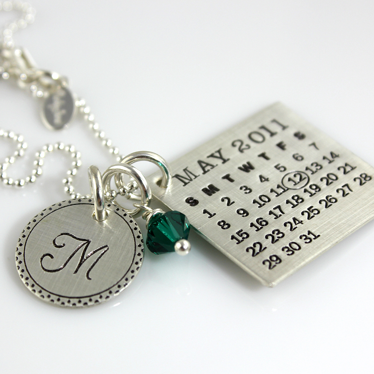Mark Your Calendar Necklace with Fancy Border Initial Charm and Crystal