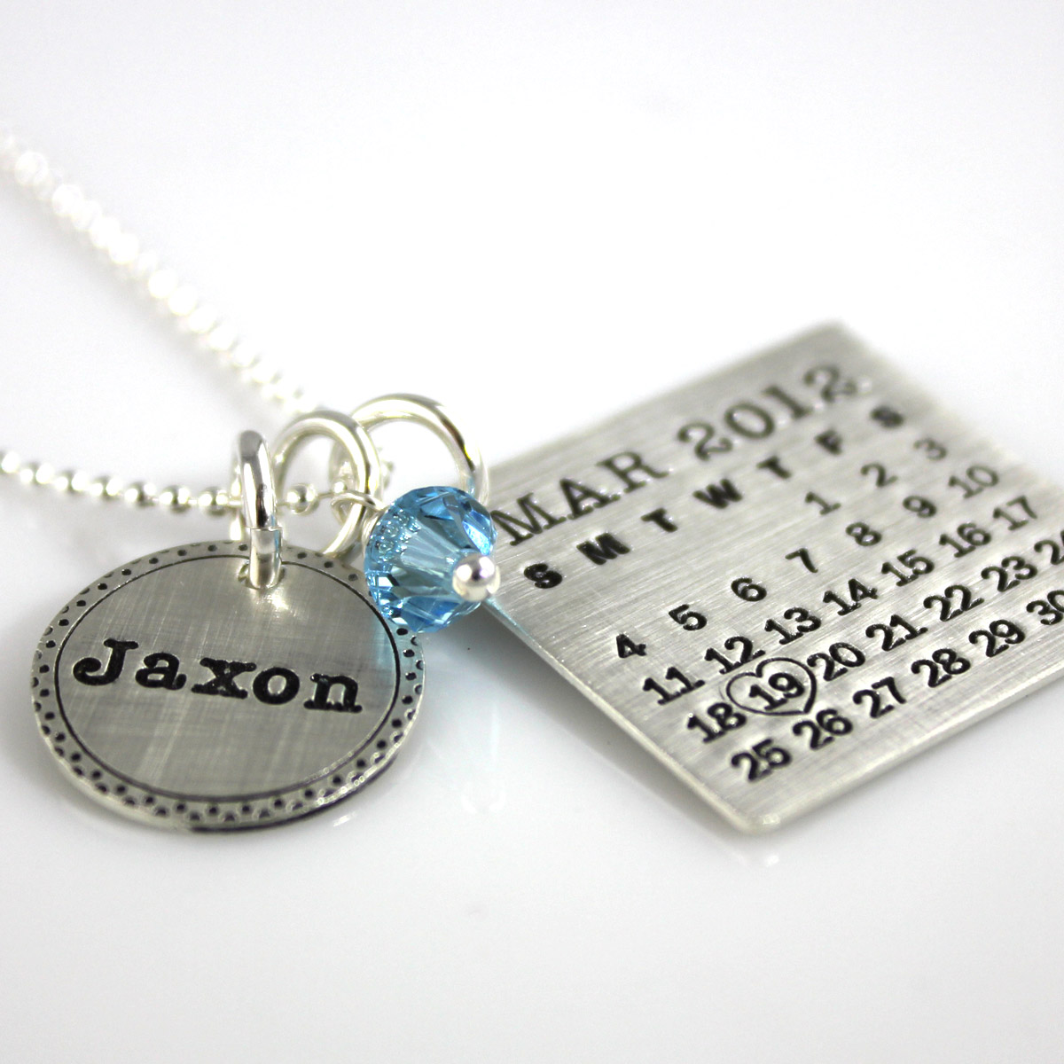 Mark Your Calendar Necklace with Fancy Border Name Charm