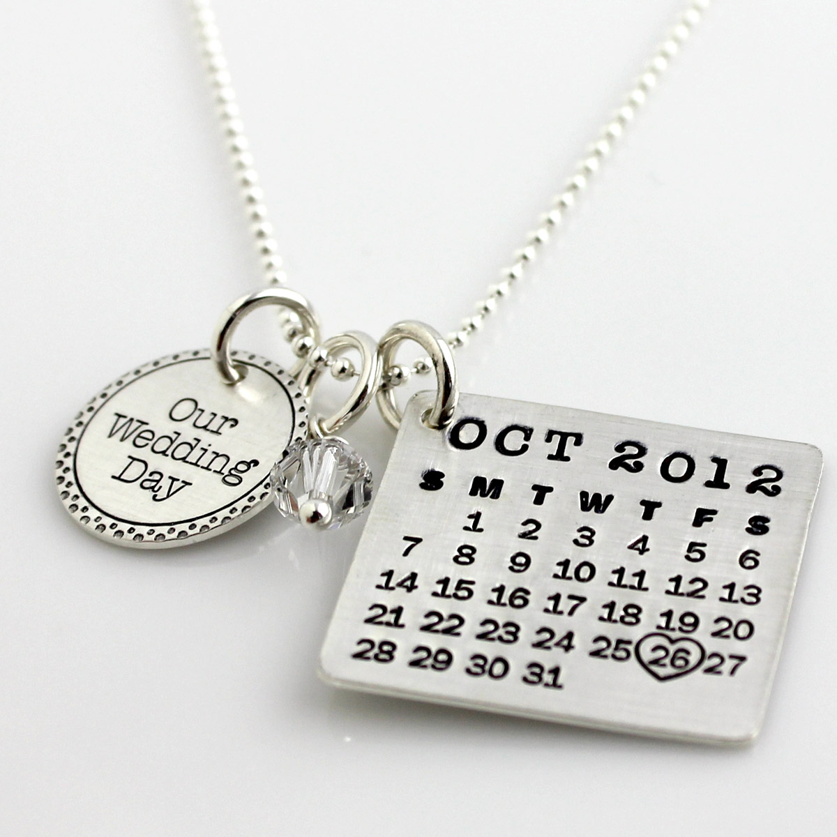 Mark Your Calendar Necklace with Fancy Our Wedding Day Charm