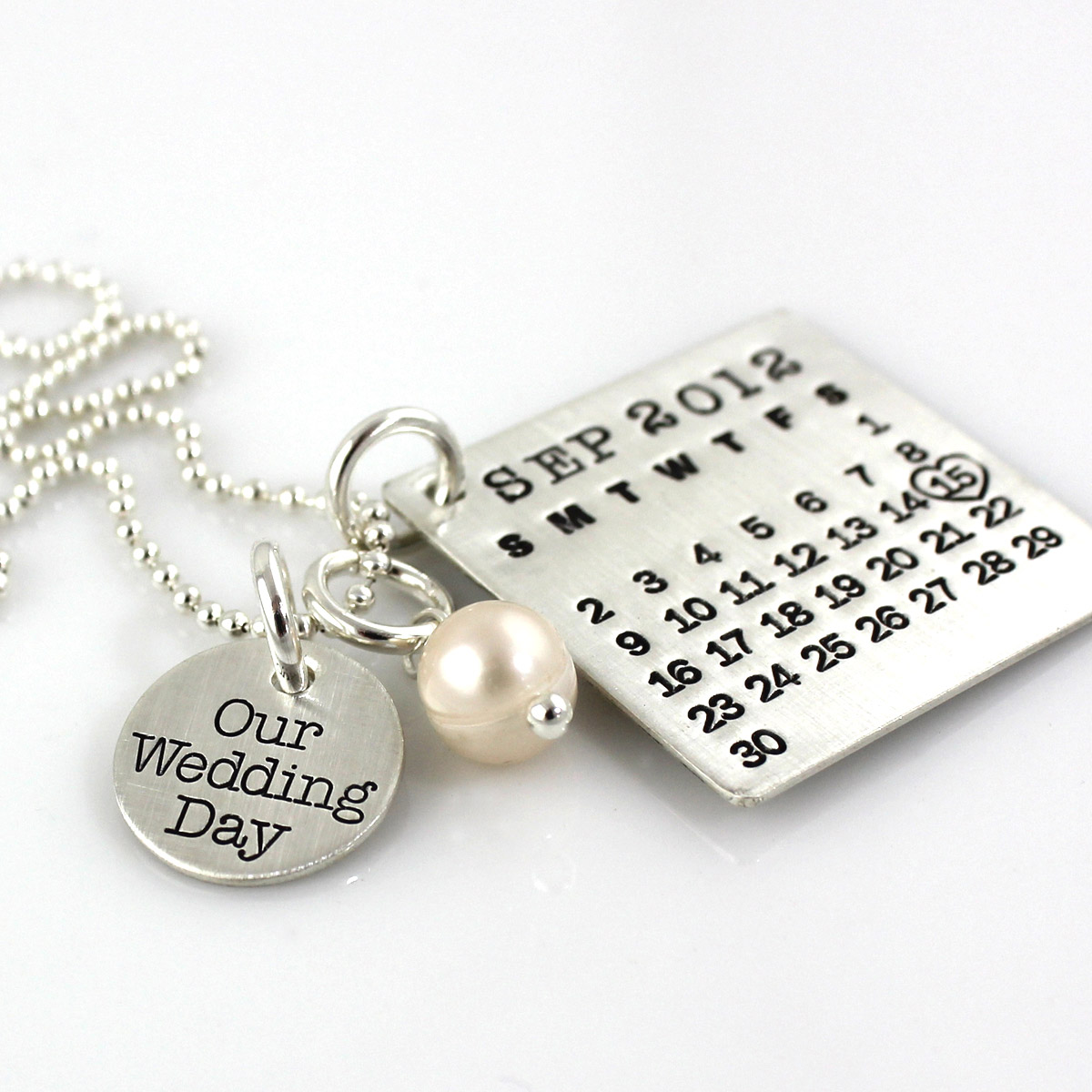 Mark Your Calendar Necklace with Our Wedding Day Charm and pearl