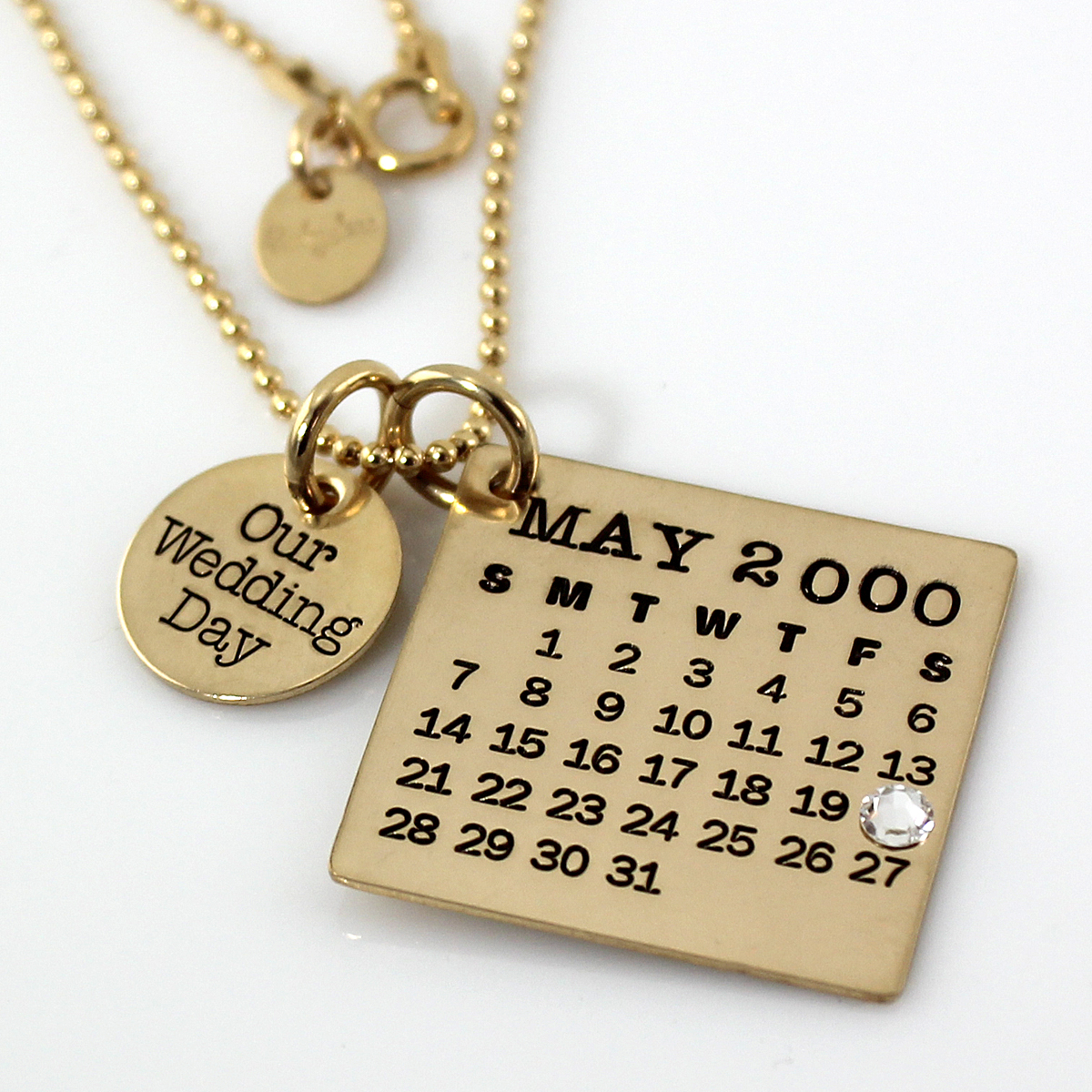 Mark Your Calendar Necklace with Our Wedding Day Charm - Gold Filled