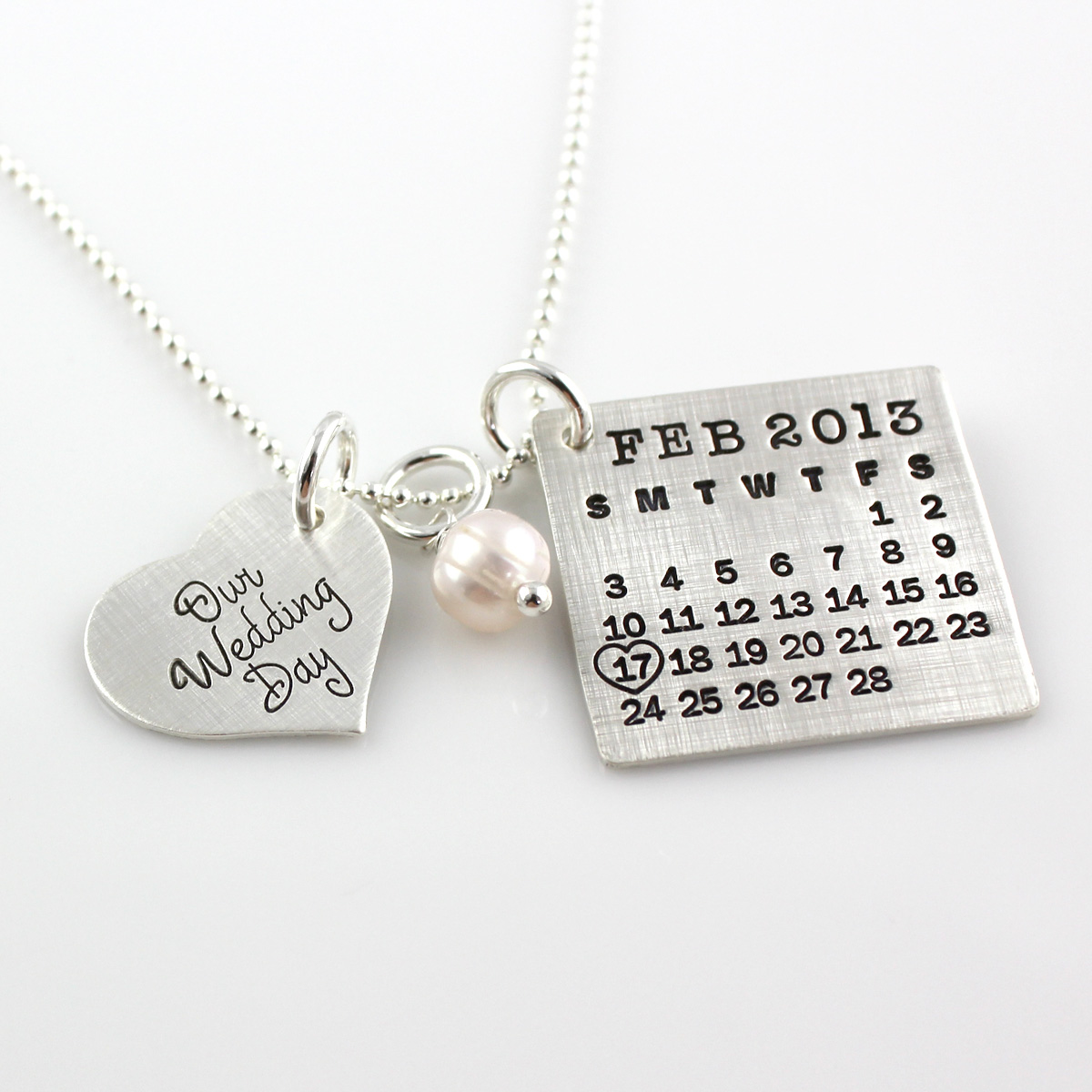 Mark Your Calendar Necklace with Our Wedding Day Heart Charm