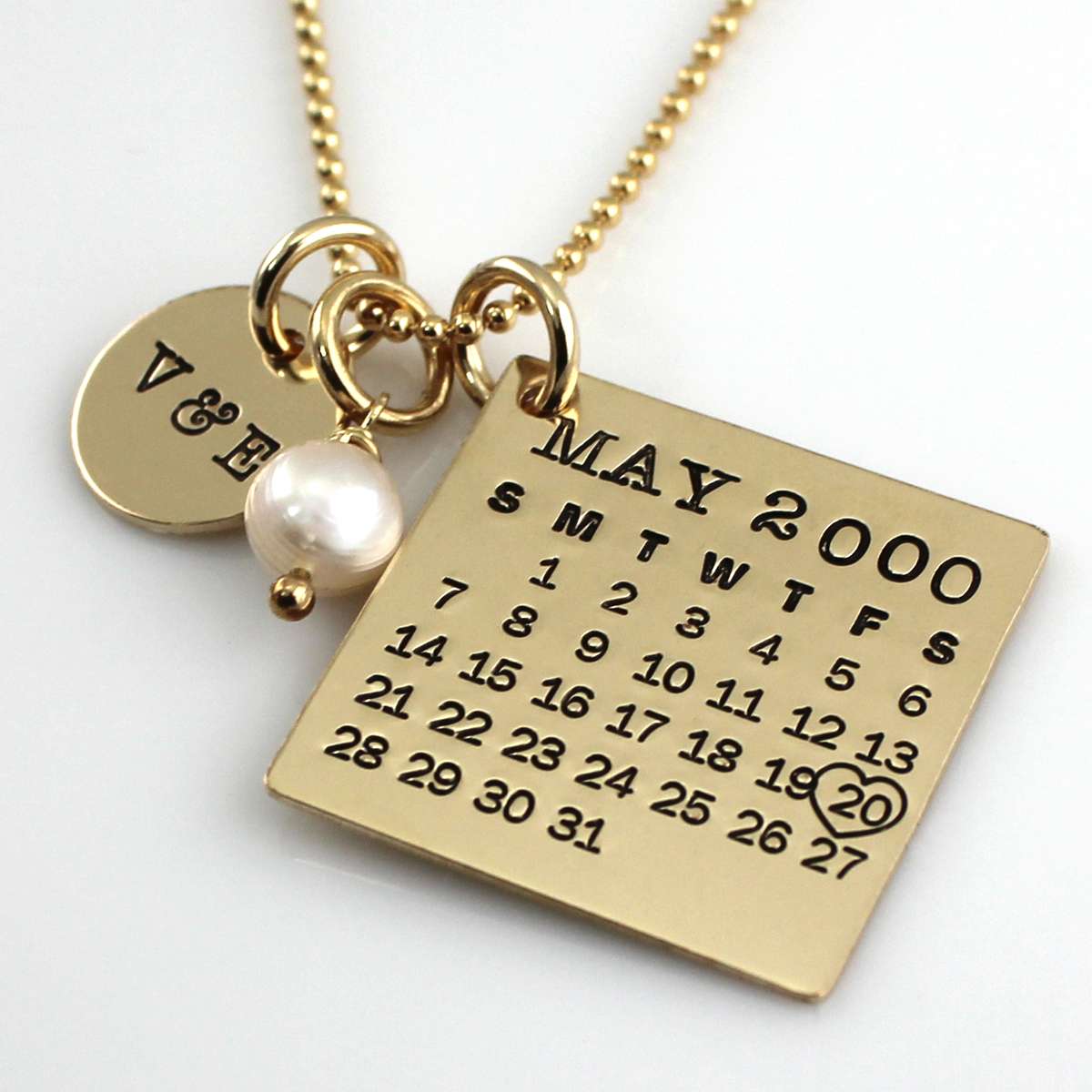 Mark Your Calendar Necklace with You & Me Charm - Gold Filled
